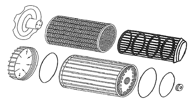 Renewable Oil Filter System exploded view image