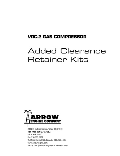 VRC-2 Added Clearance Retainer Kit